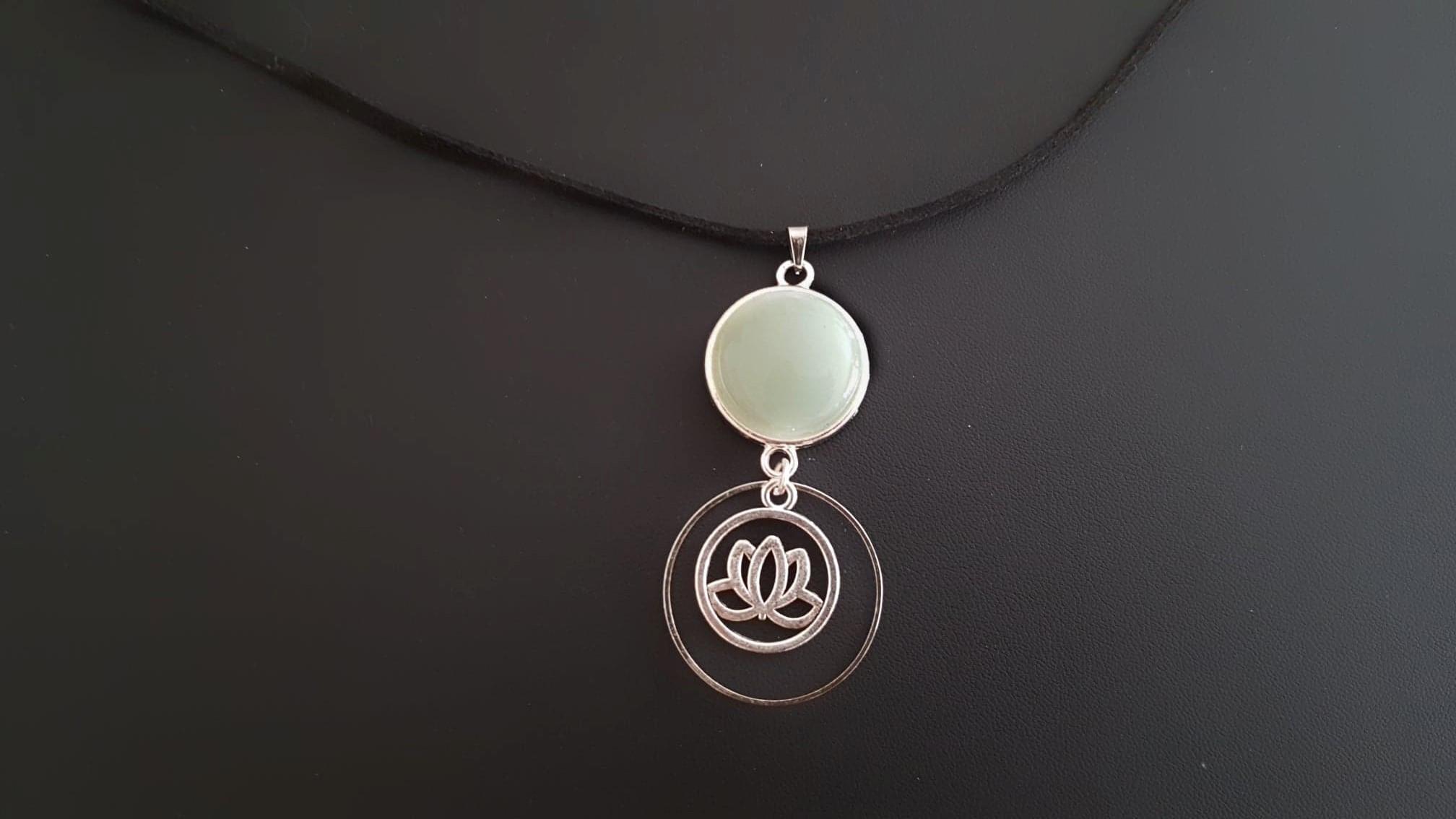 collier fleur de lotus aventurine zen yoga