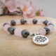 bracelet sakura lotus quartz rose hématite zen