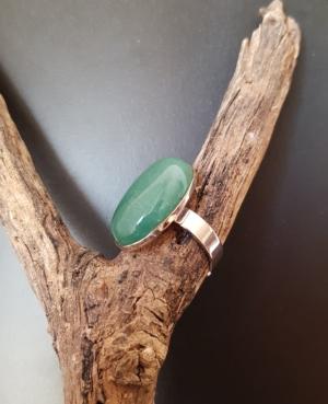 bague argentée ajustable aventurine verte