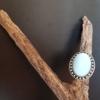 Bague ajustable argentée opale