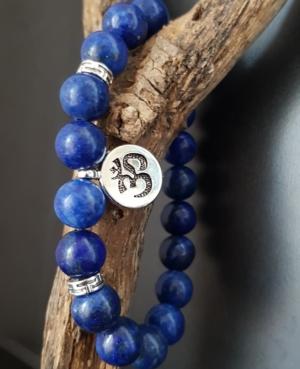 bracelet aum tibetain homme lapis lazuli