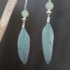 boucles d'oreilles argentées plume bleu vert aventurine