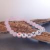 bracelet enfant personnalisable quartz rose prénom message