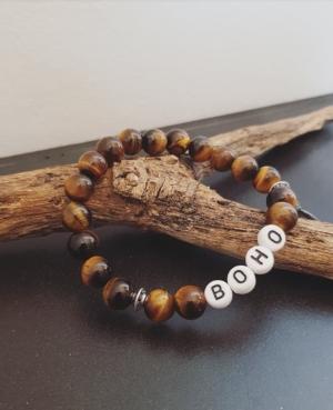 bracelet personnalisable oeil de tigre homme femme message boho