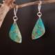 Boucles d'oreilles pendantes argentées chrysocolle
