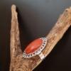 bague argentée ethnique tibet jaspe rouge