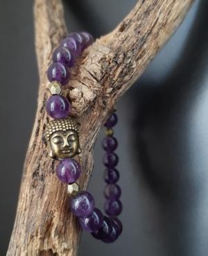 bracelet femme amethyste violet bouddha bronze