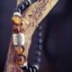 Bracelet tibétain oeil de tigre onyx pierre de lave