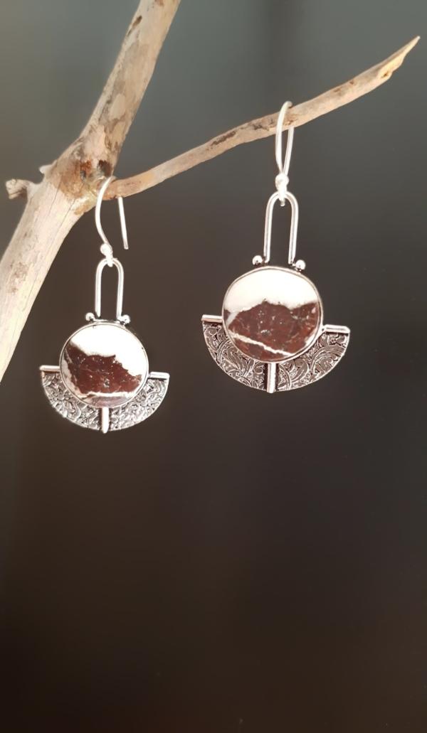 "Jaspe cocoa jasper boucles d""oreilles inde tibet"