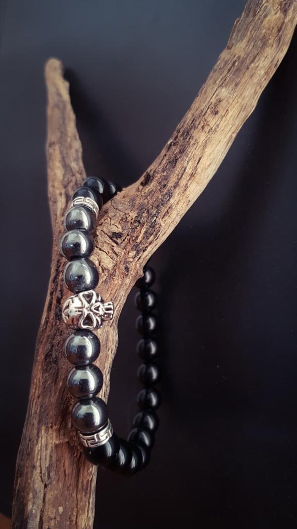 Bracelet homme biker crane skull hématite onyx