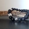 bracelet homme onyx pierre de lave tibétain
