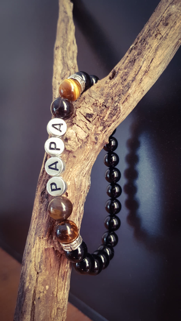 bracelet personnalisable message prénom onyx oeil de tigre