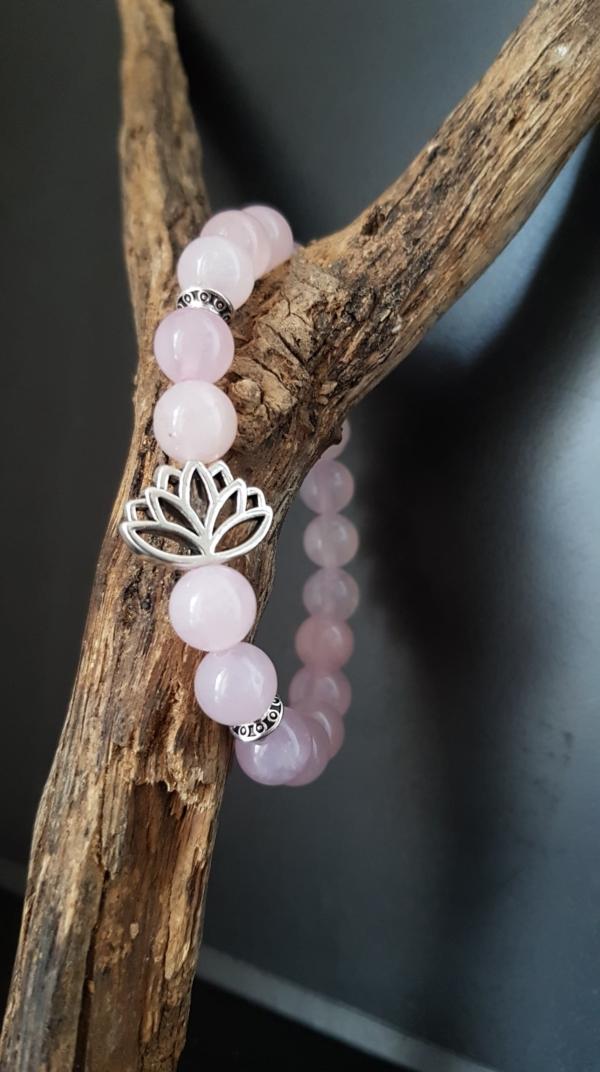 bracelet fleur de lotus quartz rose