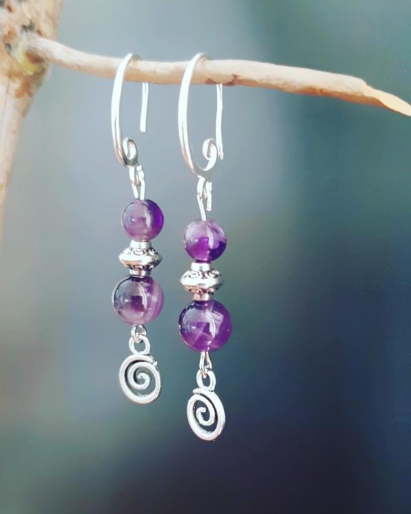 boucles spirales elfiques amethyste