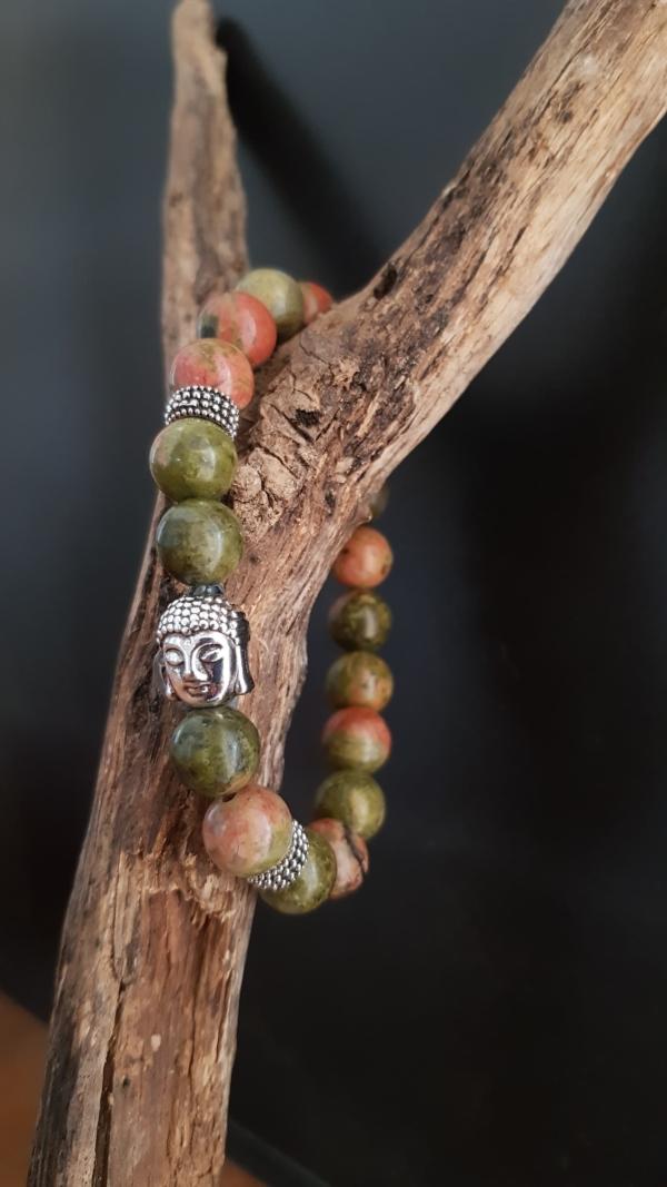 Bracelet zen bouddha unakite