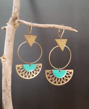 creoles bronze turquoise bleu incas evantail lune fleche