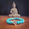 bracelet Larimar caraïbes bleu turquoise lagon lithothérapie zen apaisant lotus
