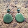 boucles d'oreilles pendantes bronze tagua verte chrysocolle